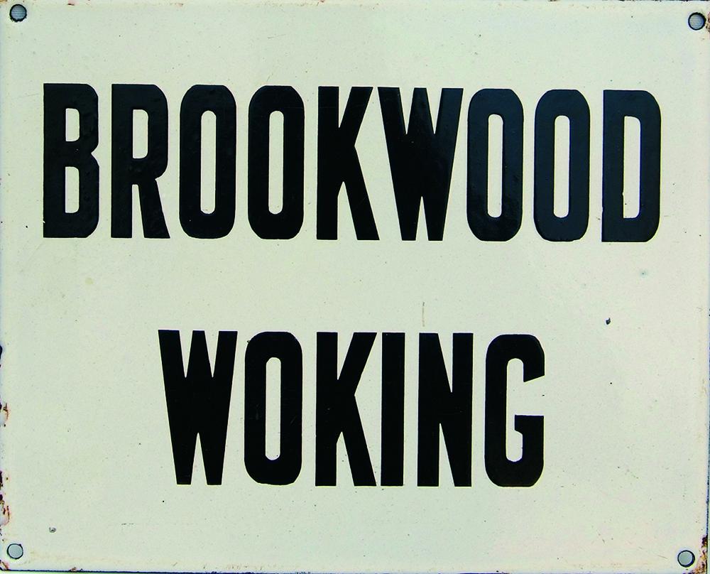 LSWR Enamel Destination Indicator Plate BROOKWOOD