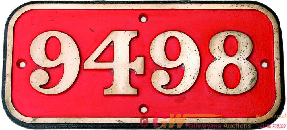 Cabside Numberplate 9498, Brass Construction. Ex