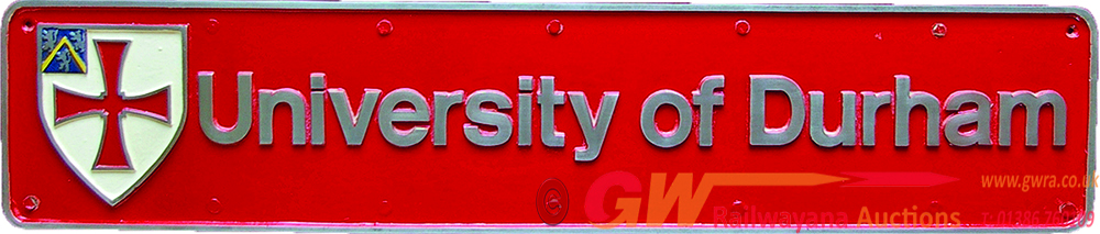 Nameplate 'University Of Durham' With Integral