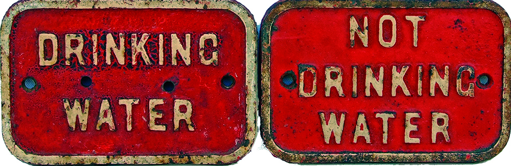 GWR C/I Tap Signs 'Drinking Water' And 'Not