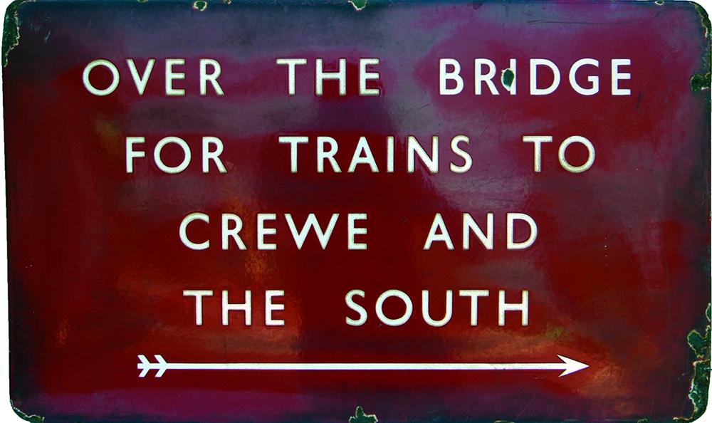 BR(M) Enamel Platform Sign 'OVER THE BRIDGE FOR
