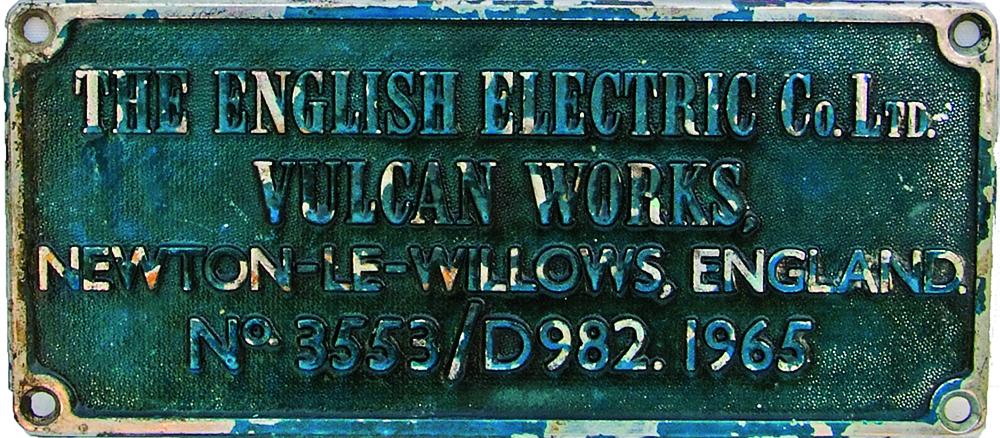 Worksplate The English Electric Co Ltd., Vulcan