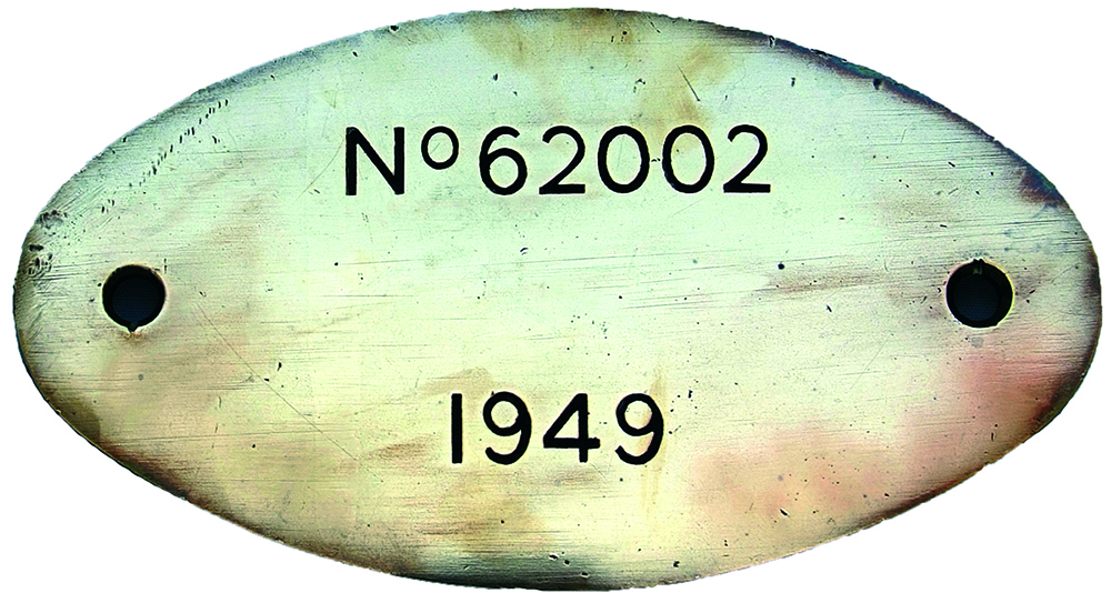 Worksplate 62002 Dated 1949, Engraved Oval Brass