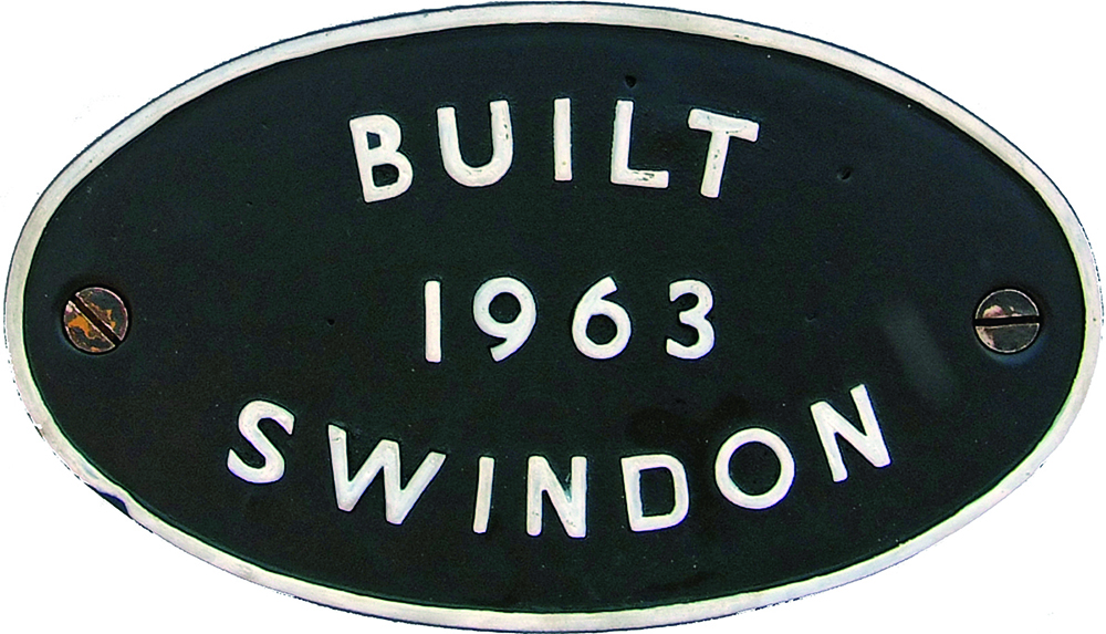 Worksplate Built 1963 Swindon, Oval Alloy