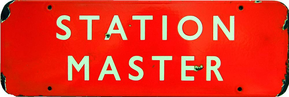 BR(NE) Enamel Doorplate STATION MASTER, F/F