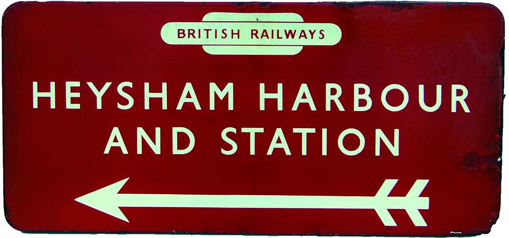 BR(M) Enamel Station Direction Sign HEYSHAM