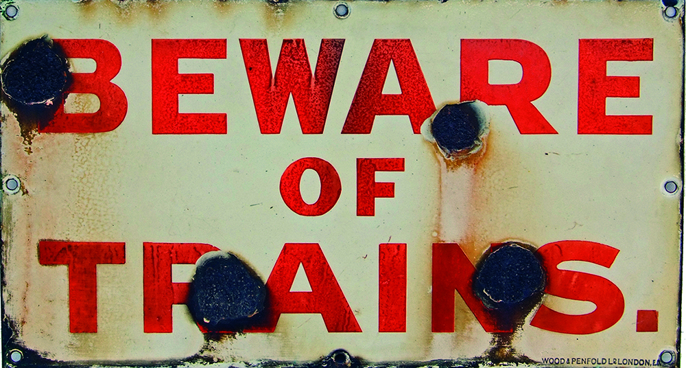 SECR Enamel Sign, BEWARE OF TRAINS, Red Lettering