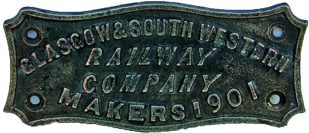 Makers Plate, Glasgow & South Western Railway