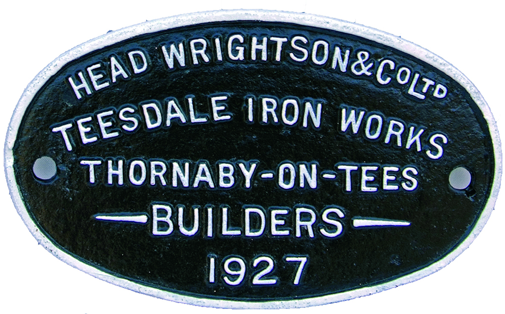 Cast Iron Wagon Builders Plate, HEAD WRIGHTSON &