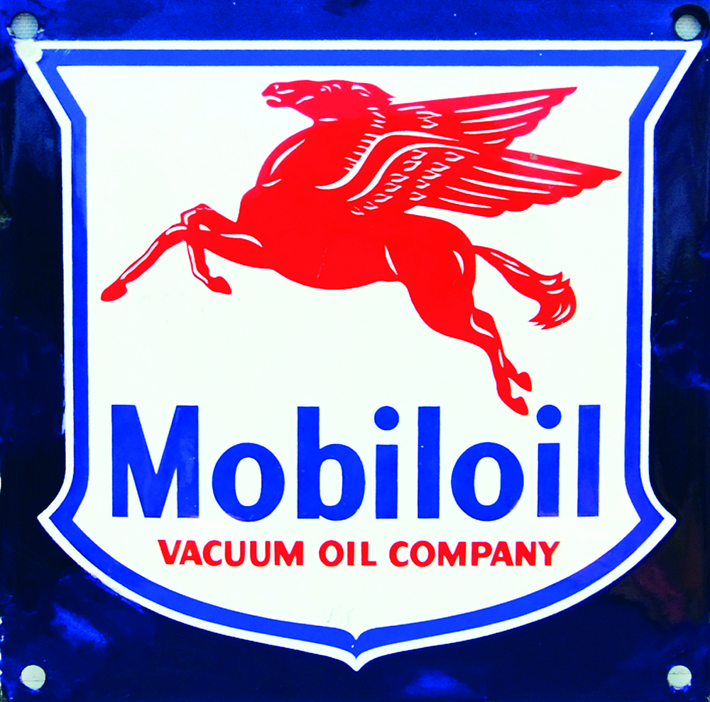 Enamel Advertising Sign 'Mobiloil Vacuum Oil