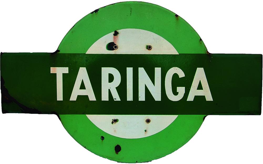 Queensland Railway Enamel Target TARINGA. The