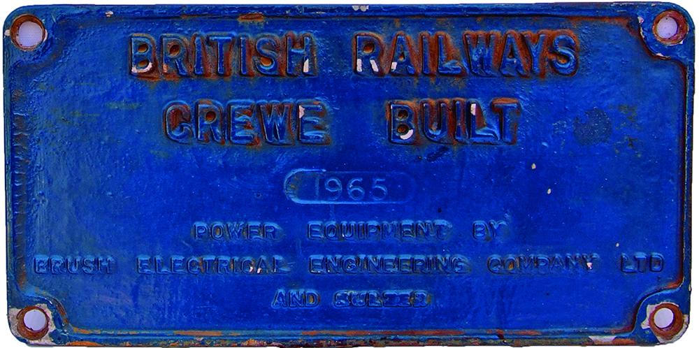 Worksplate British Railways Crewe Built 1965,