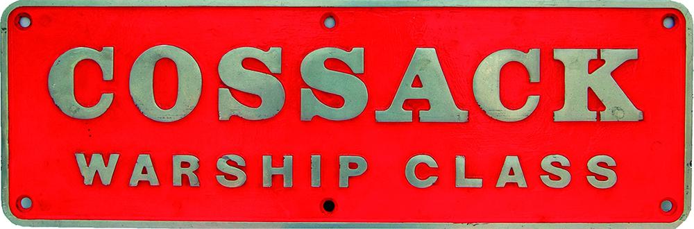 Nameplate COSSACK - WARSHIP CLASS, Ex British