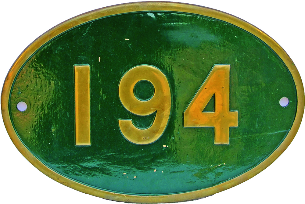 Rhodesian Railways Brass Cabside Numberplate 194.