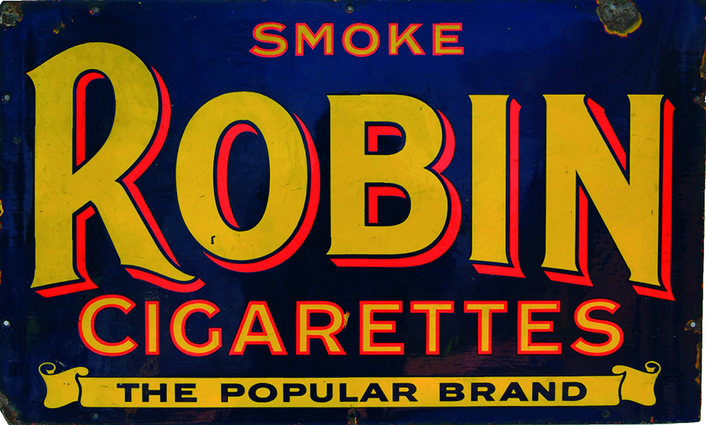 Enamel Advertising Sign ' Smoke Robin Cigarettes -