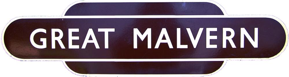 Totem, BR(W) GREAT MALVERN, H/F. Ex GWR Station