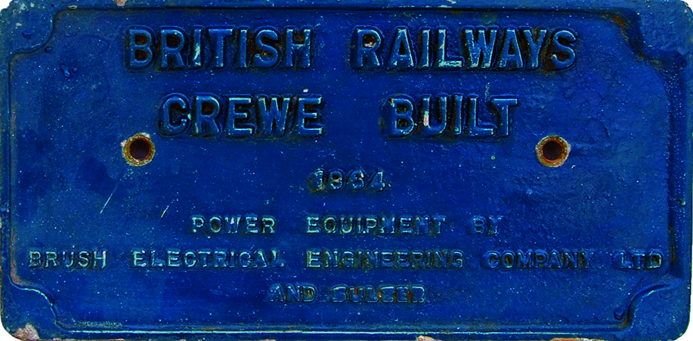 Worksplate, British Railways Crewe Built 1964,