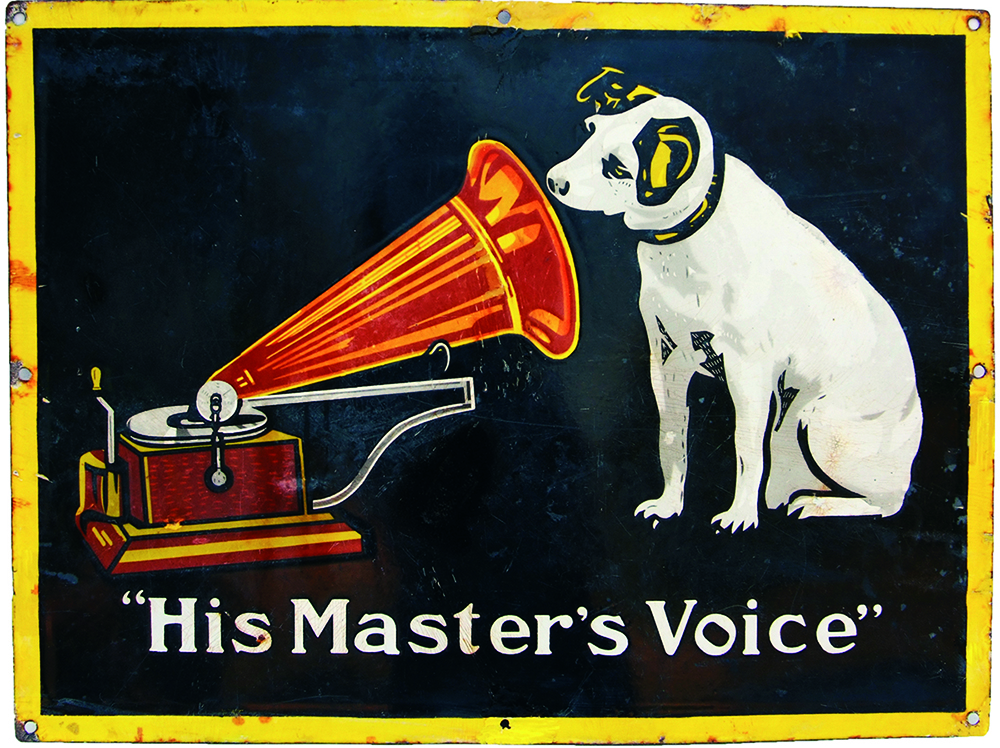 Enamel Advertising Sign 'His Masters Voice'.