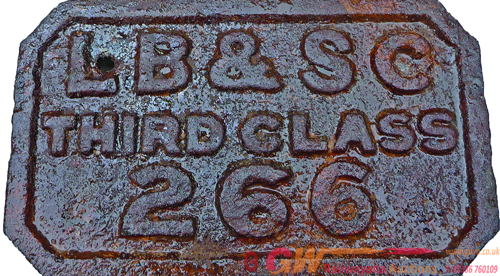 LB&SCR C/I Coach Plate , LB&SC THIRD CLASS 266 .