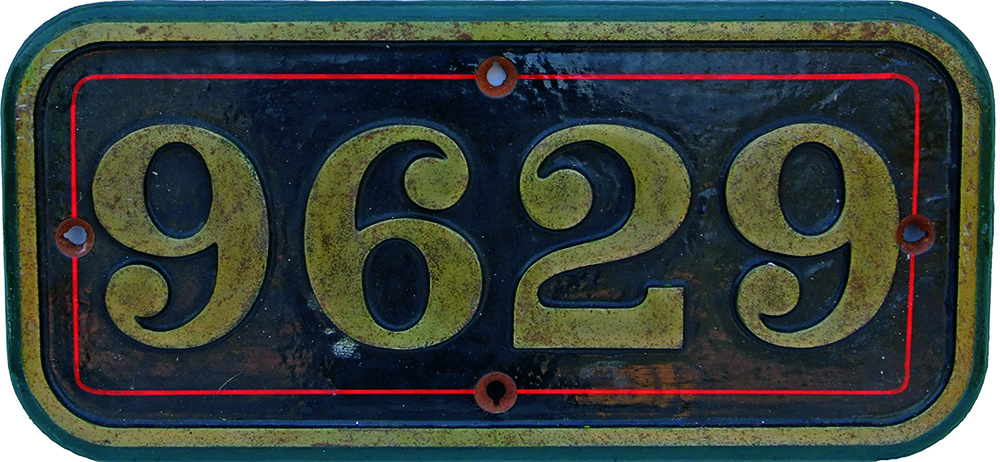 Cabside Numberplate 9629, C/I Construction. Ex GWR