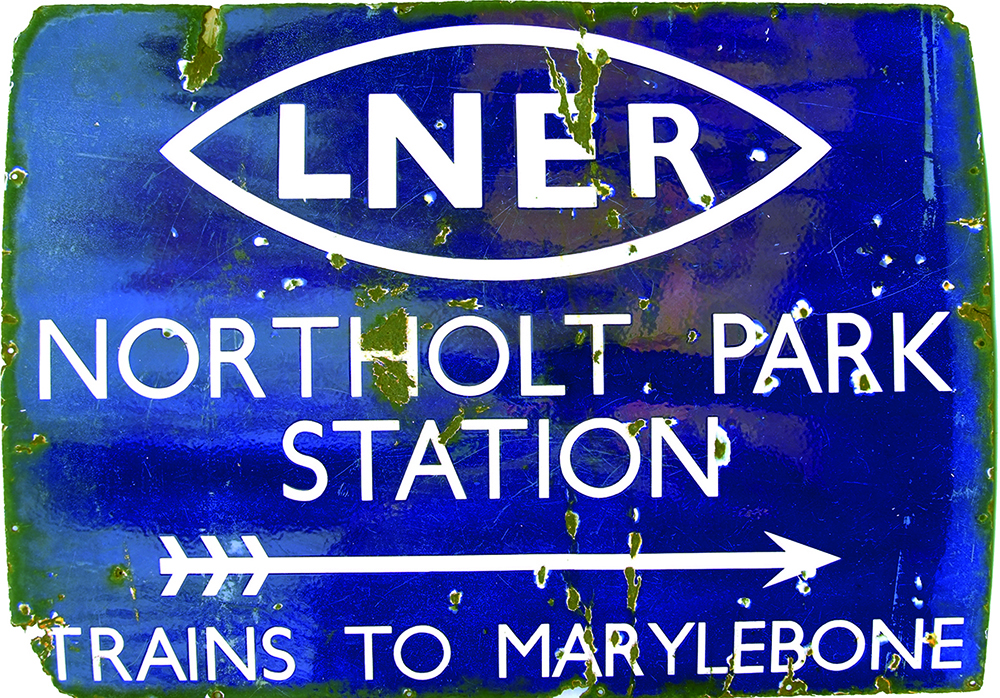 LNER 'Winking Eye' Enamel Sign 'LNER Northolt Park