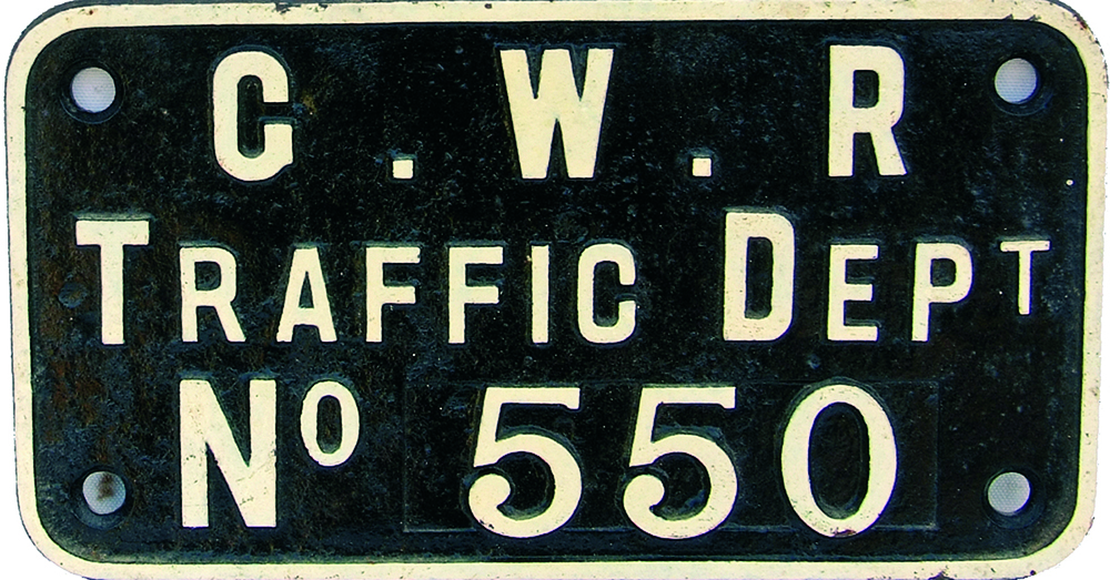 GWR Travelling Crane Plate 'GWR Traffic Department