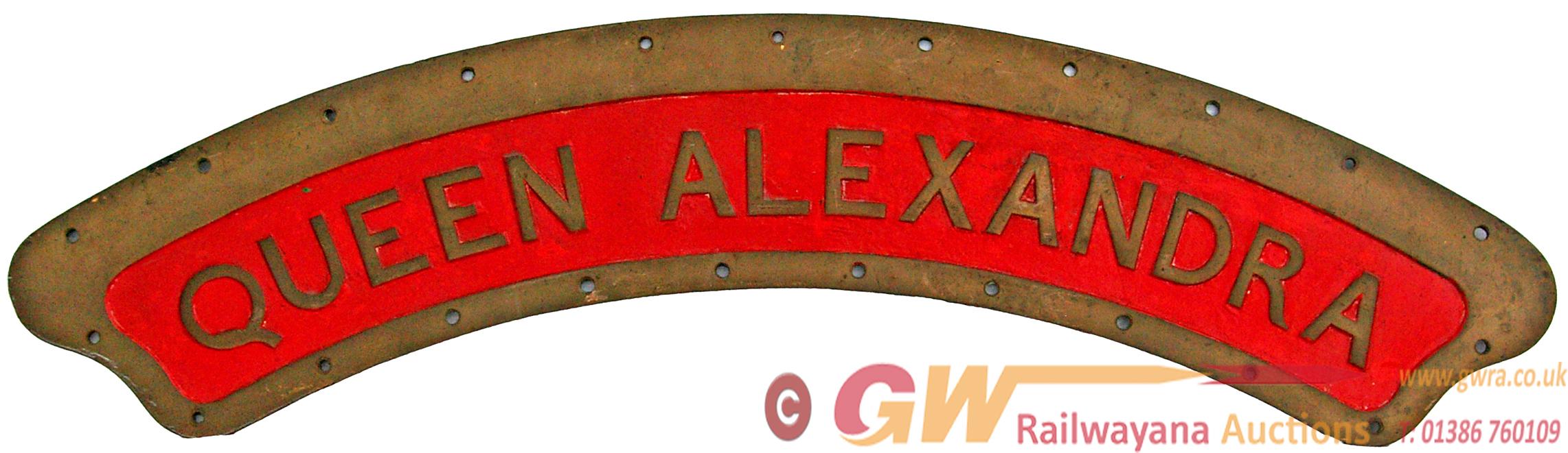 Locomotive Nameplate QUEEN ALEXANDRA. Ex Belfast