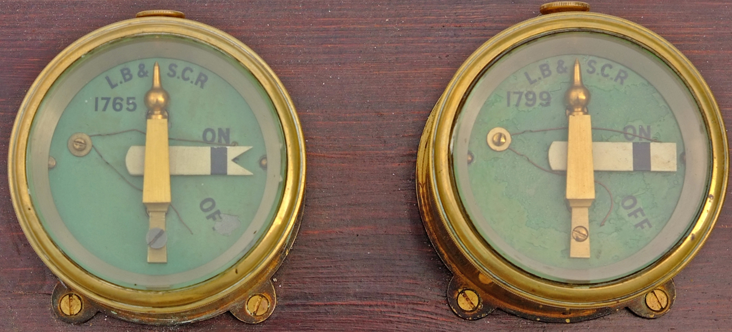 A Pair Of LB&SCR Brass Cased Signal Repeaters,