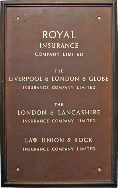 The Yorkshire Insurance Company, Solid Bronze Sign