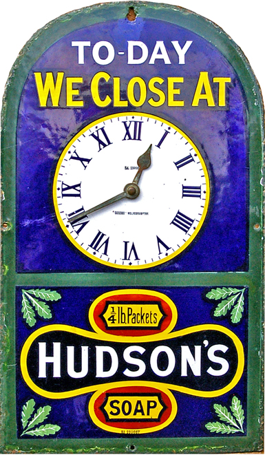 Enamel Advertising Sign, 'Hudson's Soap - Today We