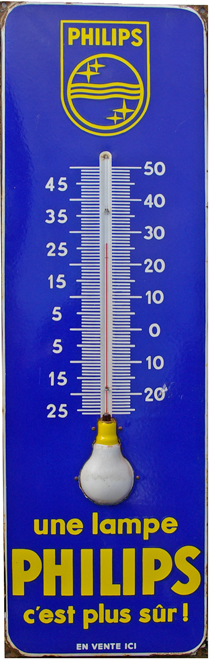 Enamel Advertising Thermometer Sign, 'Une Lampe