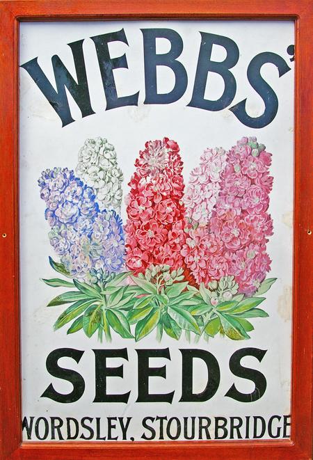 Enamel Advertising Sign, ' Webbs Seeds - Wordsley