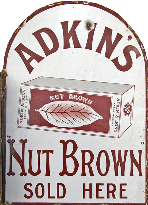 Enamel Advertising Sign, 'Adkins Nut Brown Sold