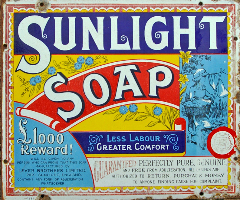 Enamel Advertising Sign, 'Sunlight Soap - Less