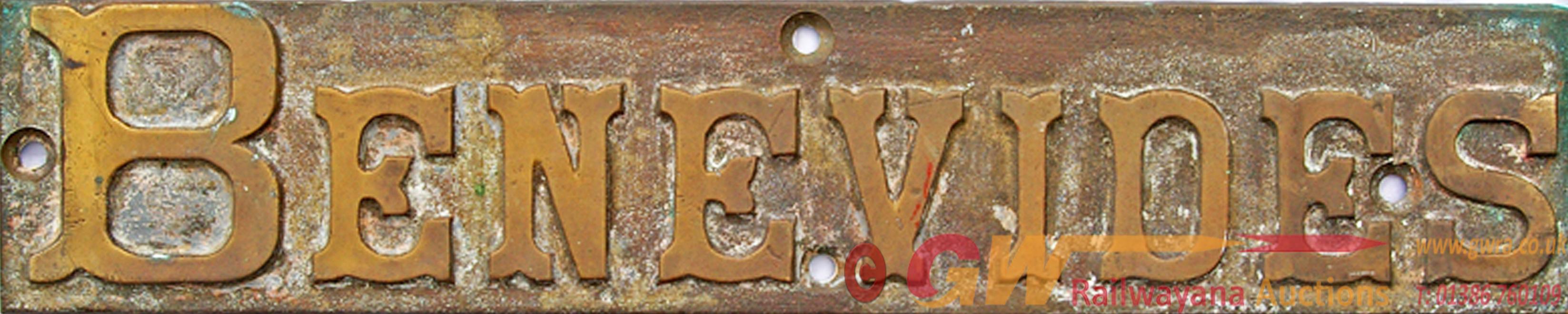 Locomotive Nameplate BENEVIDES. Believed To Be Ex
