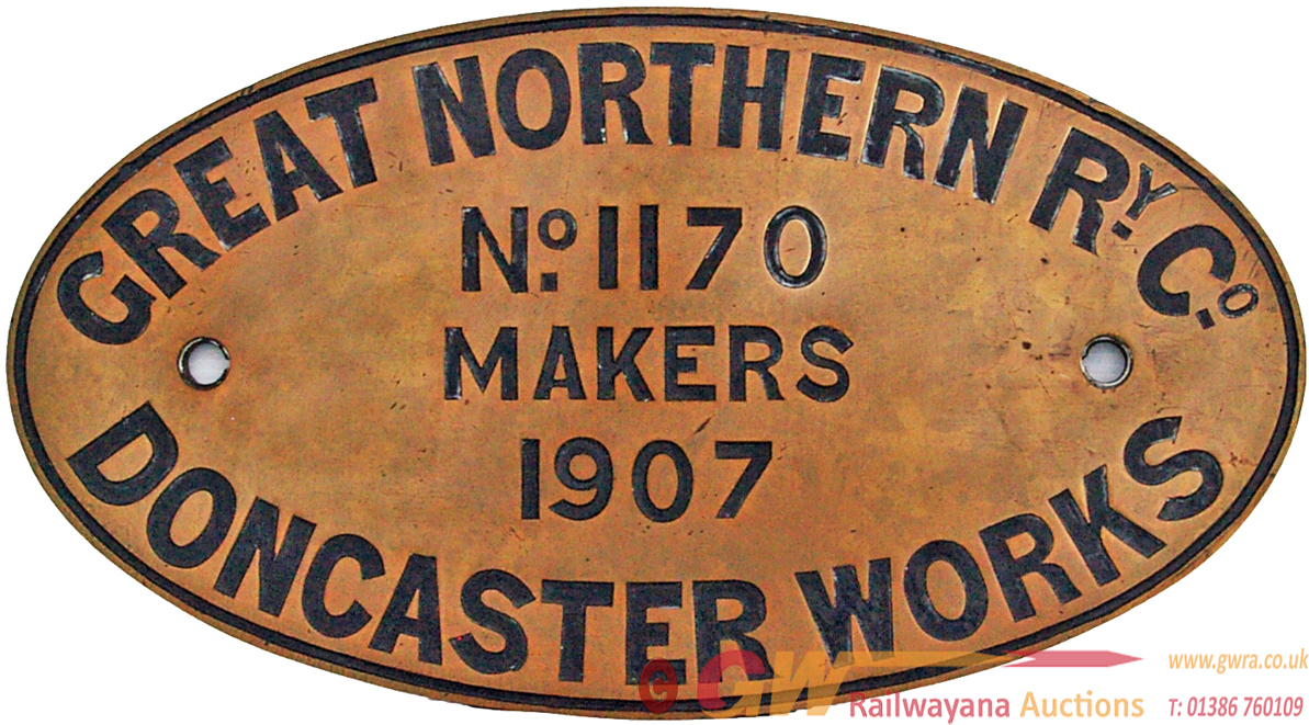 Worksplate Great Northern Ry Co No 1170 Makers