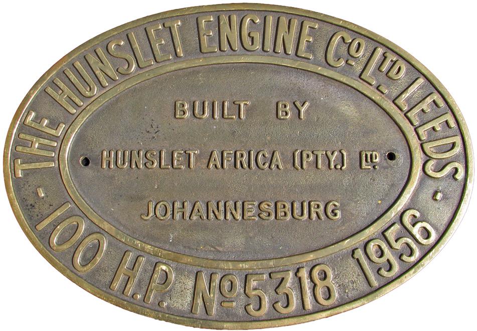 Worksplate Hunslet Engine Co Ltd., Leeds, Built By