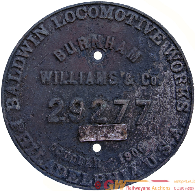 Worksplate, Baldwin Locomotive Works Philadelphia