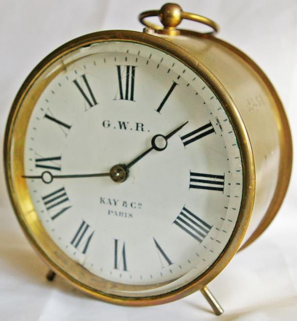 GWR Brass Cased Drum Clock Number 2458 Stamped On