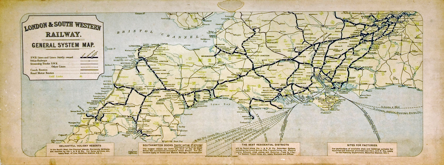 LSWR Carriage Print General System Map. Not The
