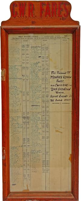 GWR FARES, Wooden Cased, Glazed Display Frame. A
