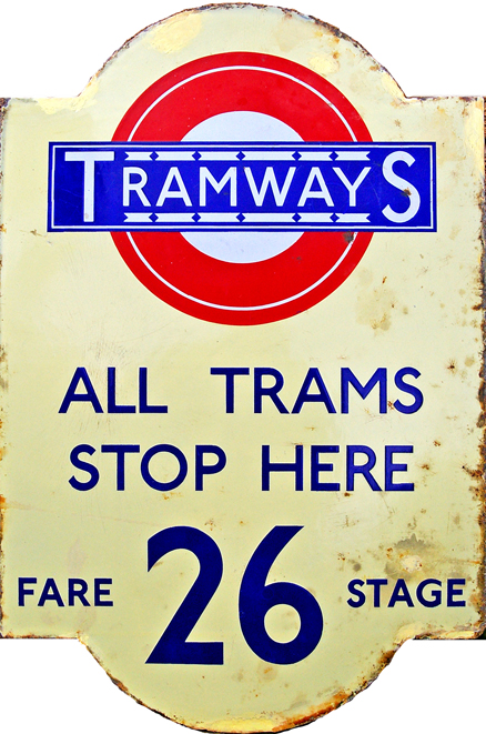 Tramways Enamel Sign, 'All Trams Stop Here - 26