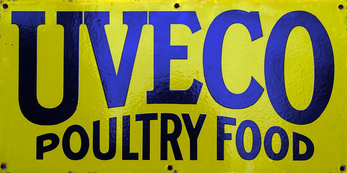Enamel Advertising Sign, 'Uveco Poultry Food'.