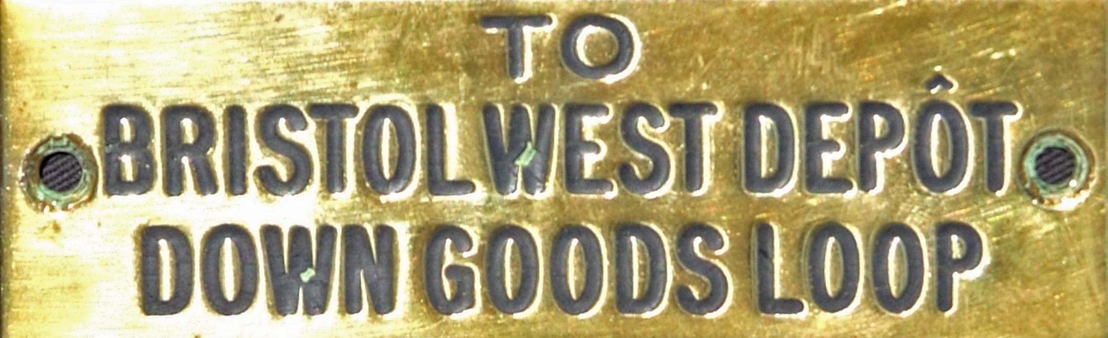 GWR Brass Signalbox Shelf Plate TO BRISTOL WEST