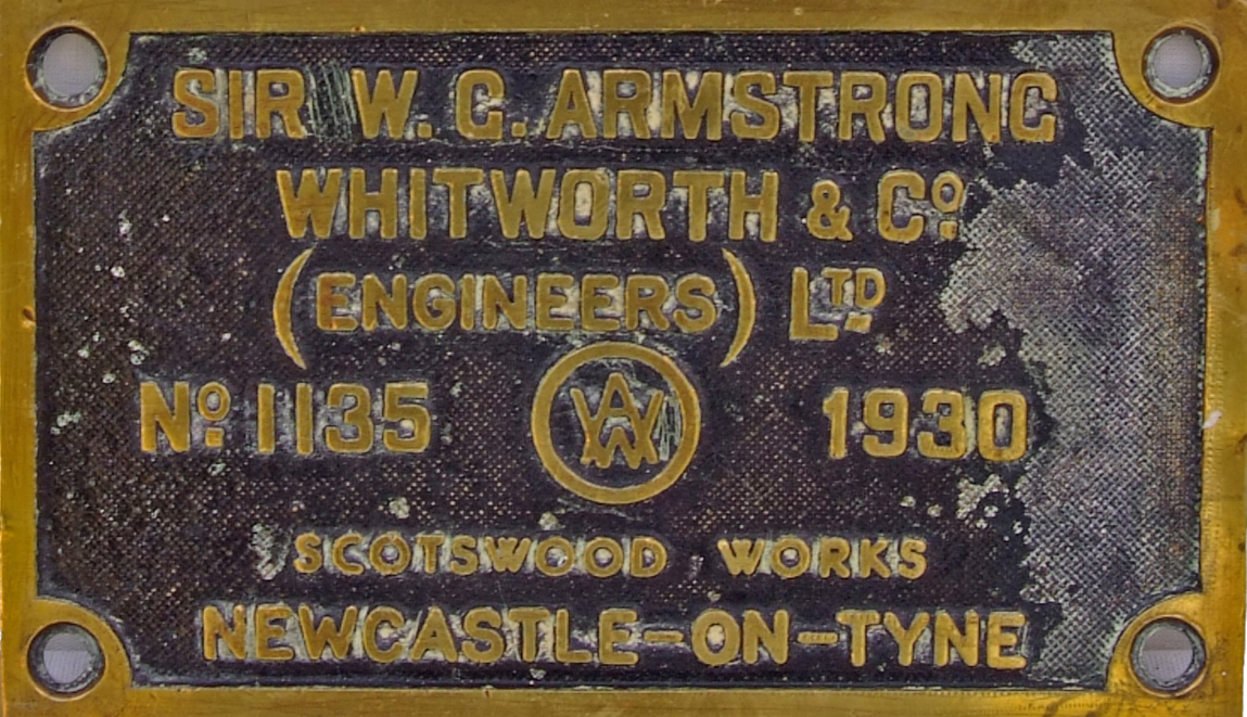 Worksplate Armstrong Whitworth No. 1135 Dated
