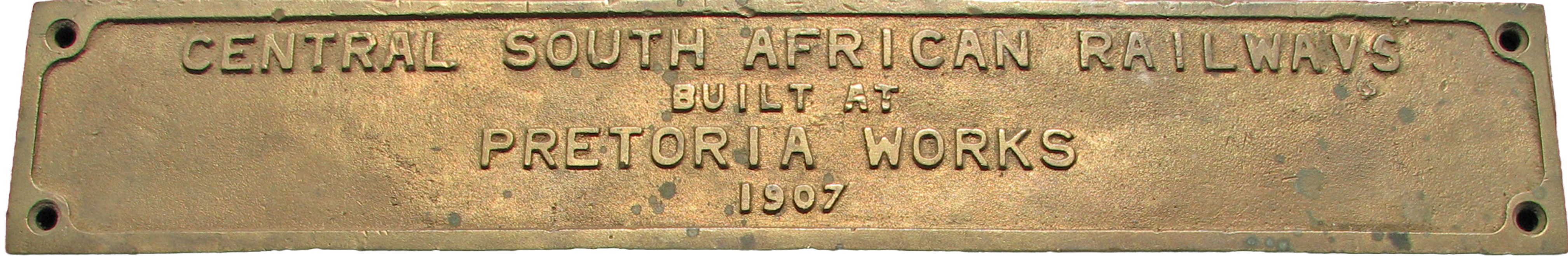 South African Railways Brass Coach Plate Central