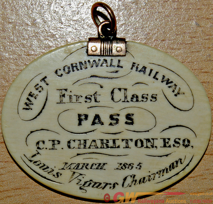 West Cornwall Railway Ivory First Class Pass.
