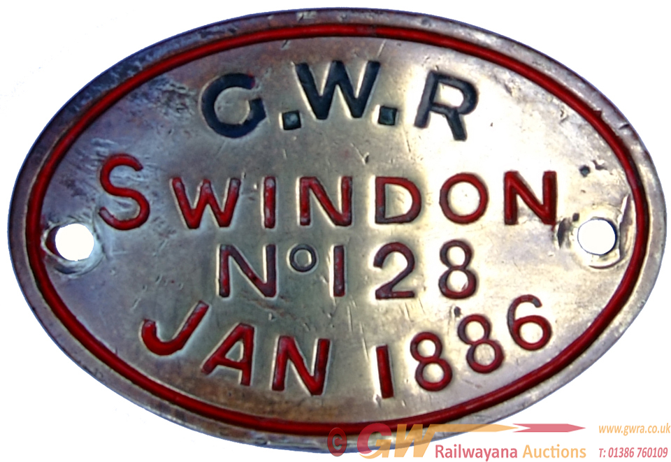 GWR Brass Oval Worksplate SWINDON No. 128 JAN