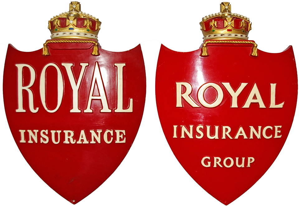 Royal Insurance Fibre Shields, A Pair, Both
