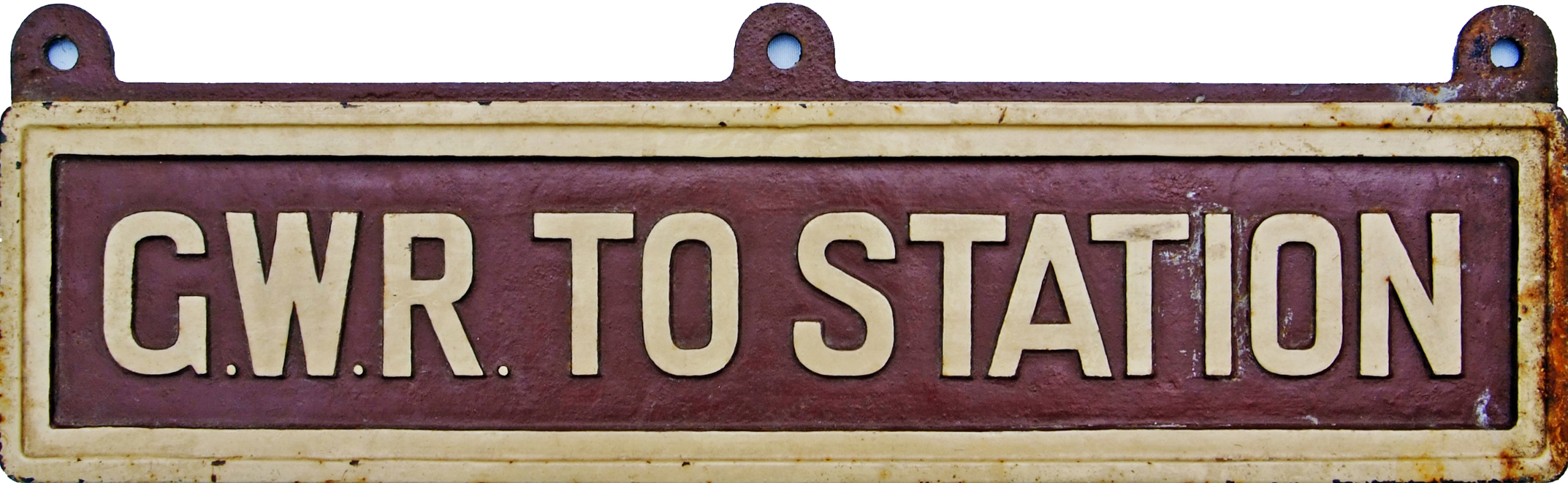 GWR C/I Sign 'G.W.R. TO STATION'. Measures 25 X 6